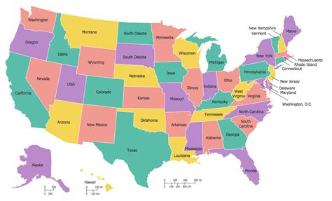 state map of usa continent maps solution conceptdraw
