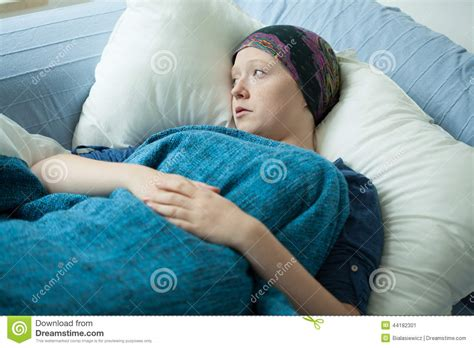 cancer woman in bed sad woman with cancer stock image image of sadness fear 44182301