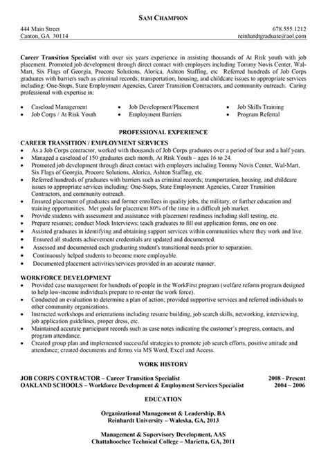 Combination Resume Sle For Career Change Changing Resume Templates