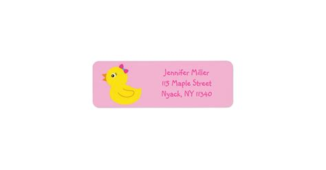 rubber st address labels pink rubber duck address labels zazzle