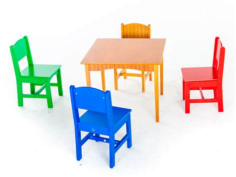 square primary colors table with chairs play with a purpose