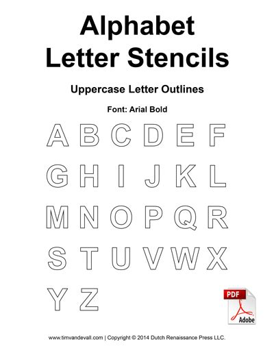 free printable alphabet letters pdf free alphabet letter stencils for kids printable