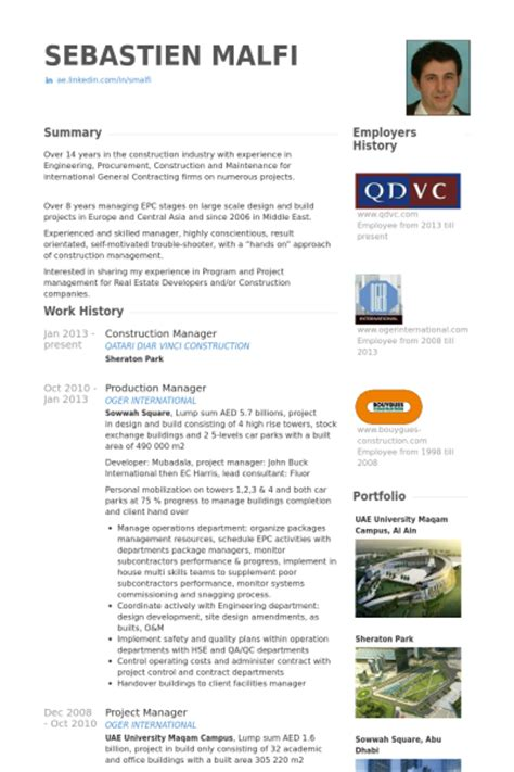 Construction Resume Database by Construction Resume Sles Visualcv Resume Sles Database