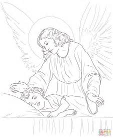 Guardian Angel Over Sleeping Child Coloring Page Free Guardian Coloring Page