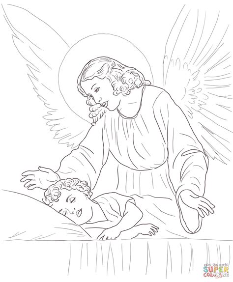 guardian angels coloring page guardian angel over sleeping child coloring page free