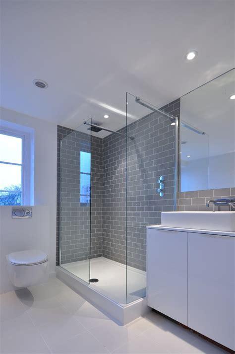 grey shower tile Bathroom Contemporary with bathroom