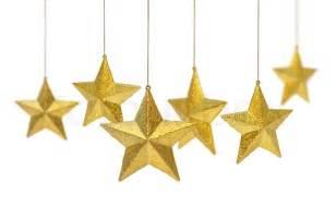 sterne dekoration sechs goldene weihnachtsdekoration sterne h 228 ngen isoliert