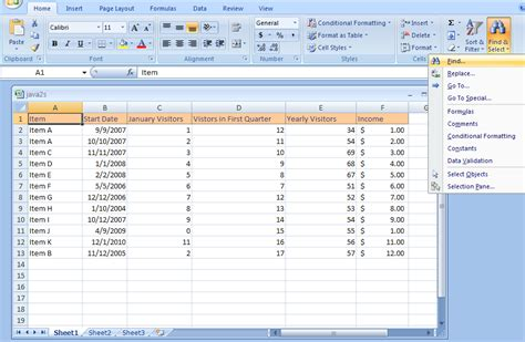 tutorial microsoft office excel 2007 find cell contents find replace 171 editing 171 microsoft