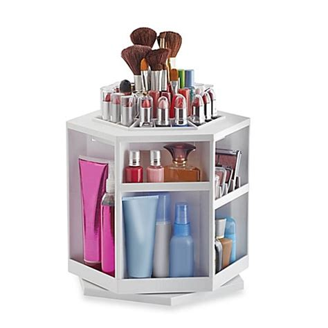 Spin Cosmetic Organizer By L360 White lori greiner 174 spinning cosmetic organizer in white bed bath beyond