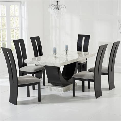 Marble Dining Table And 6 Chairs Riviera And Black Marble Dining Table With 6 Chairs Robson Furniture