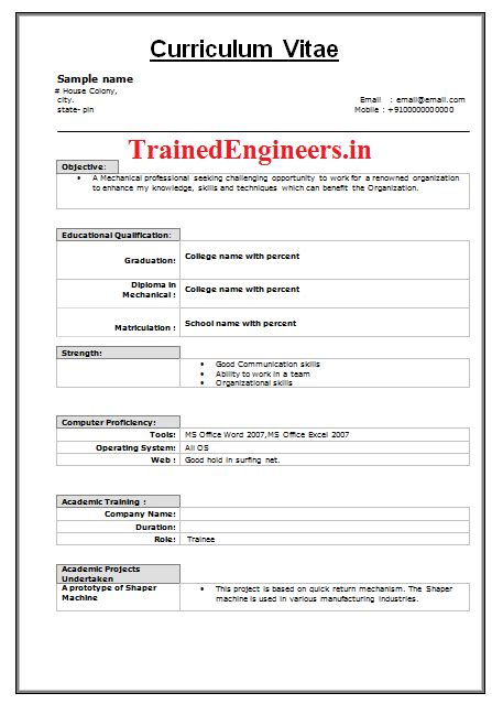 Mechanical Fresher Resume Samples mechanical engineering fresher resume format free download mechanical