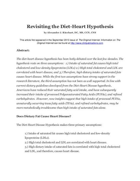 Hypothesis In Research Paper by Revisiting The Diet Disease Hypothesis Paper