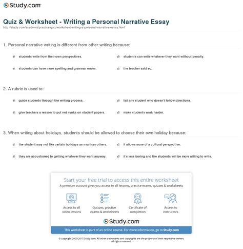 Topics To Write A Narrative Essay About by Quiz Worksheet Writing A Personal Narrative Essay Study