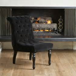 Tufted accent chair living room modern with black velvet chair tufted
