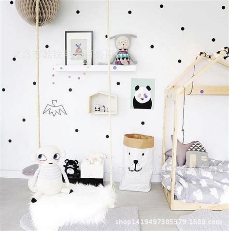 black and white nursery wallpaper black gold pink polka dots star wall sticker baby nursery