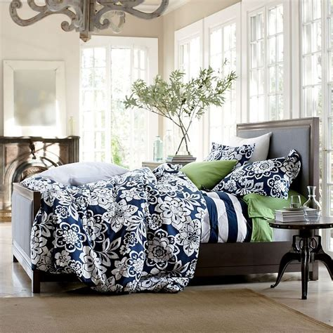 Clarin House White Bedcover Set King Size bed linen astonishing navy blue patterned bedding