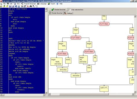 generate flowchart from code c delphi basic code 2 flowchart software infocard wiki