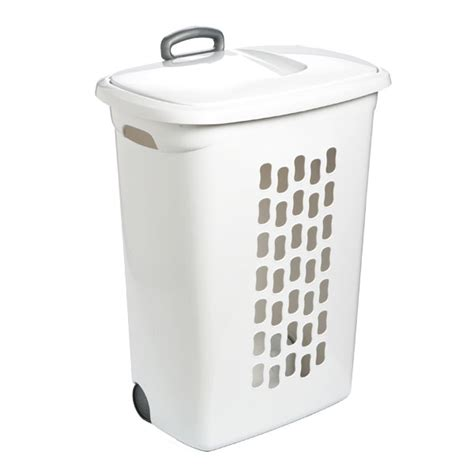 plastic laundry with lid her with wheels the container store