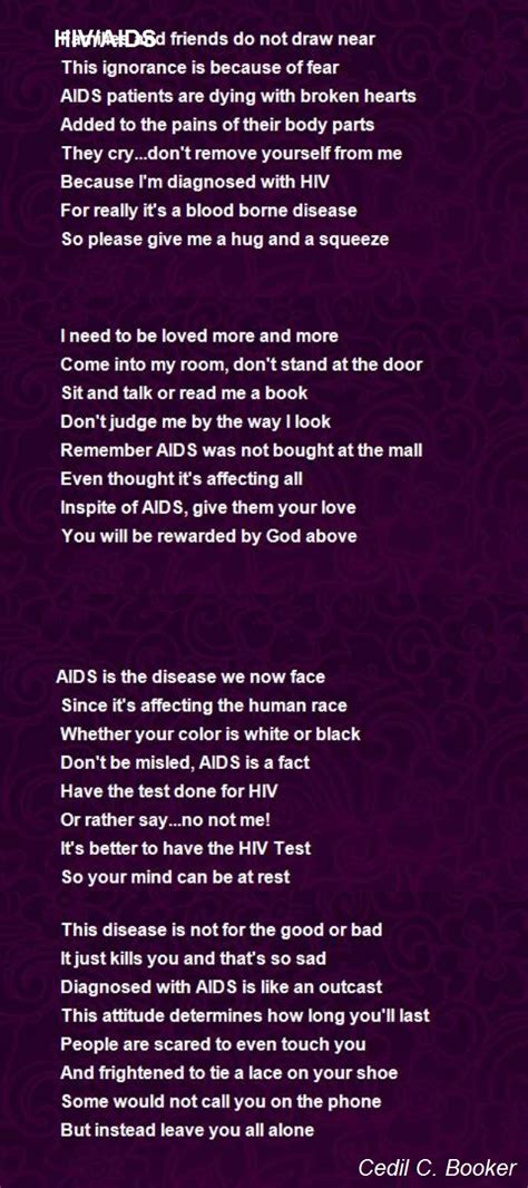Hiv Aids Poem By Cedil C Booker Poem Hunter Comments
