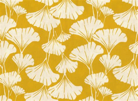 yellow leaf pattern fabric ginkgo leaves print fabric mustard yellow one yard quilting