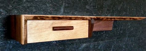 Oak Floating Shelf With Drawer by Walnut And Oak Live Edge Shelf With Single Drawer