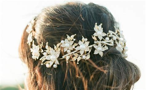 Faux Pearl Leaves Headpiece gold bridal headpiece agnes bridal leaf headpiece pearl
