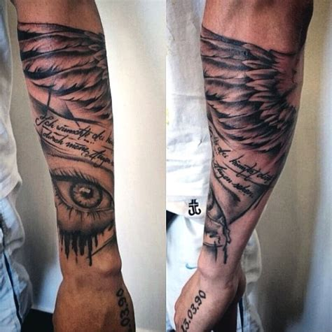 wing memorial tattoos arm big black ink memorial with lettering and wing on