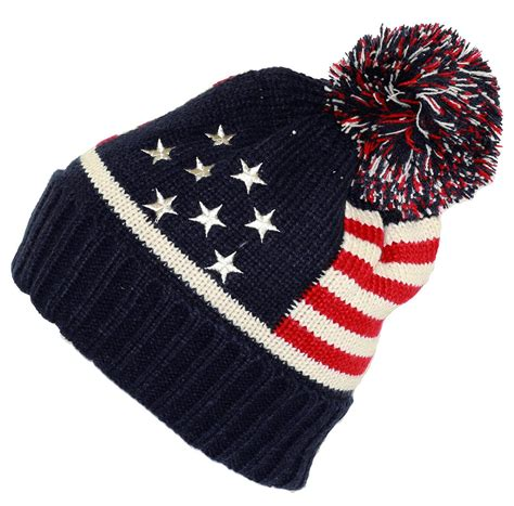 who knitted the american flag knit american flag pom pom beanie