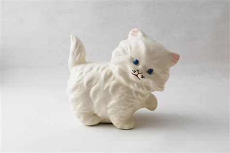 Cat Figurine vintage ceramic kitten porcelain cat figurine white by