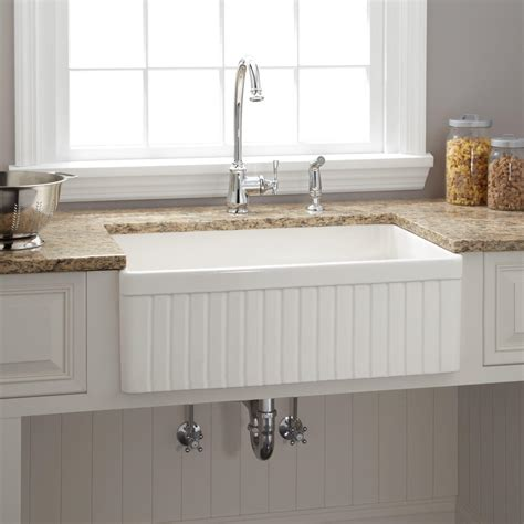 Kitchen With Farmhouse Sink 18 Quot Ellyce Fireclay Farmhouse Sink With Overflow White Kitchen