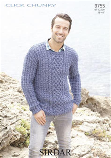 sirdar mens knitting patterns 9755 mens sweater in sirdar click chunky knitting