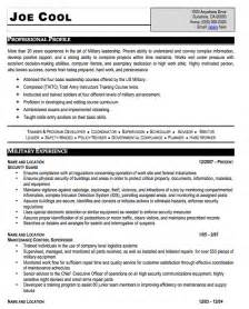 Sample Military Resume Military Resume Sample Free Resume Template Professional