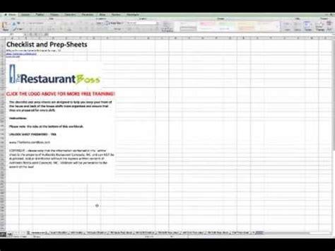 Restaurant Checklist And Prep Sheets Youtube Restaurant Side Work Checklist Template