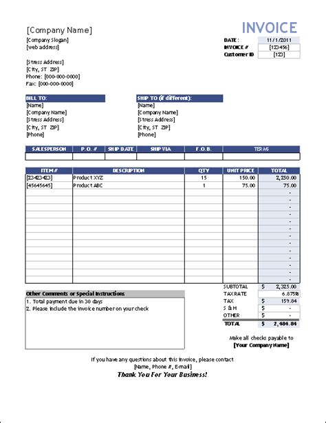 sales invoice template for excel