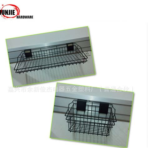 decorative wire baskets wholesale slat wall mounted metal wire basket for pvc panel hanging