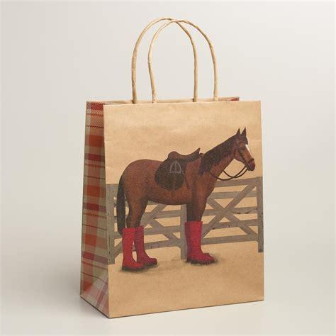 Sale 50 Okiedog Pony Pouch large kraft gift bags set of 2 world market