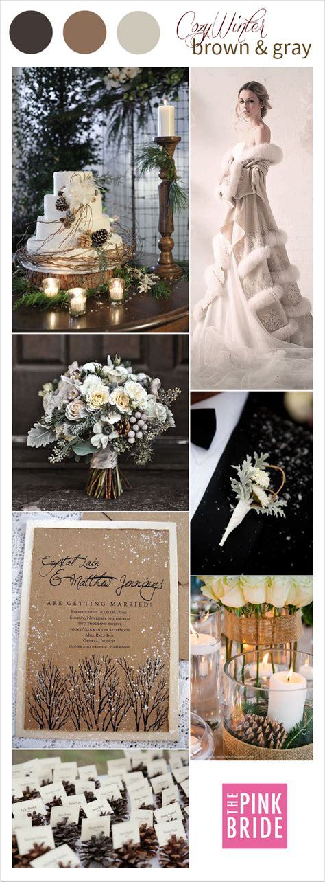 Candlelight Color Wedding Color Board Cozy Winter Brown Amp Gray The Pink Bride