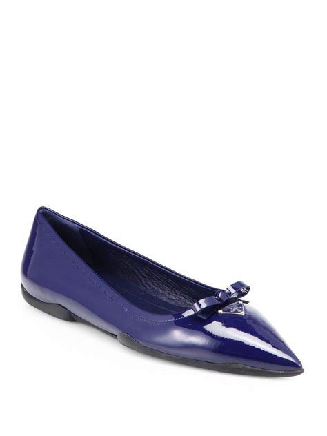 prada shoes flats lyst prada patent leather pointtoe ballet flats in blue