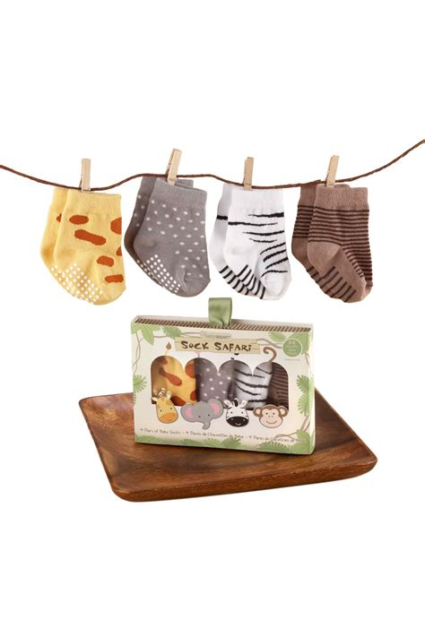 Baby Set Of 4 Socks baby aspen sock safari set of 4 pairs of animal socks