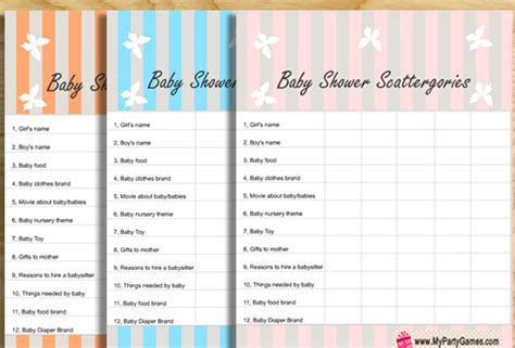 printable scattergories dice free printable baby shower scattergories game for boy and