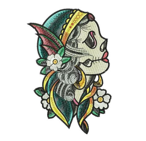 tattoo machine embroidery designs gypsy skull tattoo machine embroidery diy and crafts
