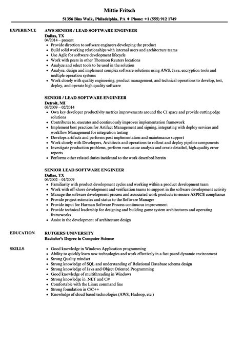 senior lead software engineer resume sles velvet