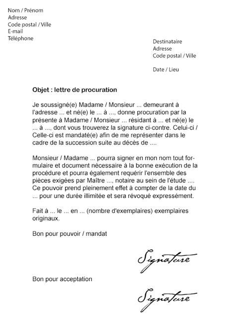 Modèle Lettre De Procuration Signature Bail Lettre De Procuration Notaire Mod 232 Le De Lettre