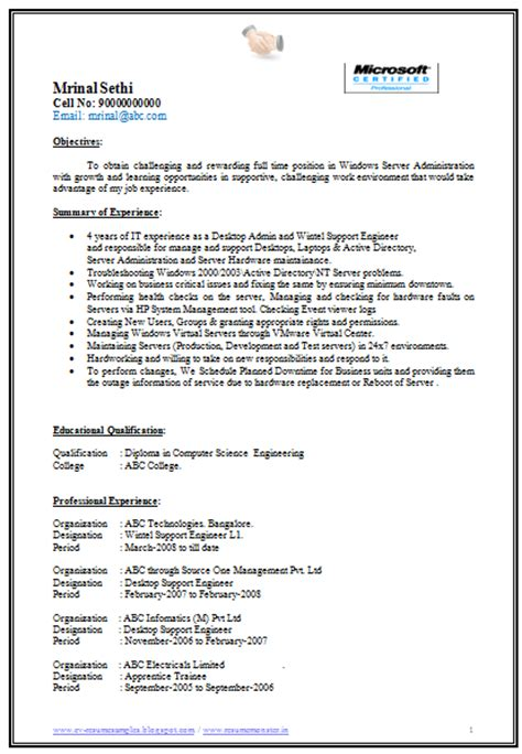 resume format for 1 year experienced software developer sle resume for software engineer with 1 year experience