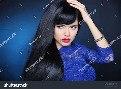 photos of lovely dark black long silky hairs of indian chinese girls in braided pony styles long black hair beautiful model girl stock photo 302389271