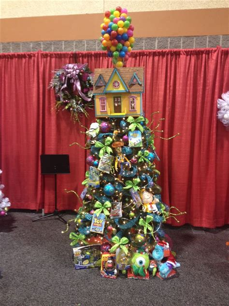 themed christmas trees disney pixar themed christmas tree up balloon house tree