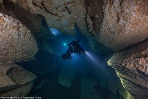 cave diving in france underwater filming by rich stevenson