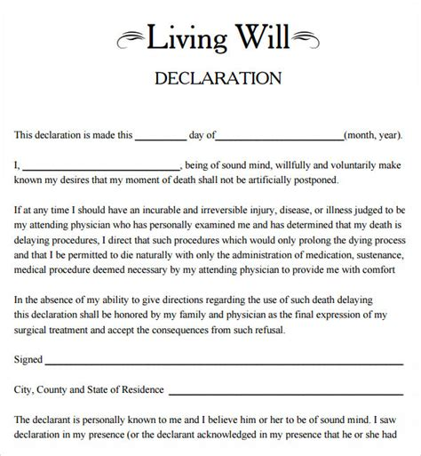 standard will template free 9 sle living wills pdf sle templates