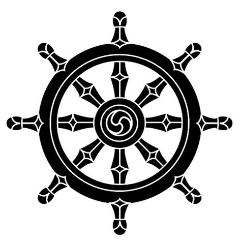buddhismus religion symbol dharma rad wandtattoo