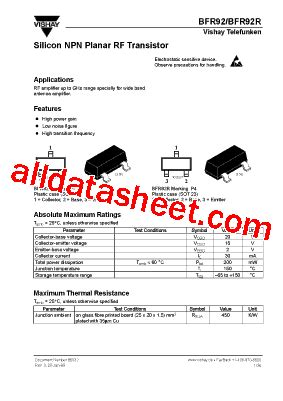 transistor datasheet vishay bfr92r datasheet pdf vishay siliconix